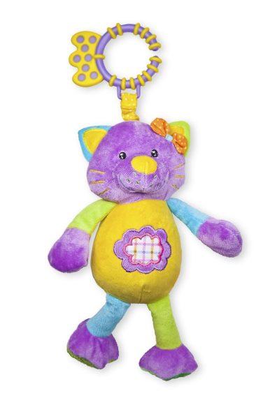 Жирафики Развивающая игрушка Кошка озвученная93547Эта разноцветная кошка говорит «мяу!», если нажать ей на животик. А еще внутри нее спрятана погремушка. Кошку можно подвесить за колечко к бортику кроватки. Колечко одновременно можно использовать как прорезыватель для первых молочных зубов малыша.