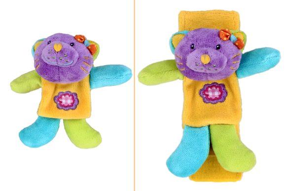Жирафики Развивающая игрушка Браслет-кошка93554Этот чудесный браслет можно надеть малышу на ручку. Ребенок будет с удовольствием разглядывать его, ведь он такой яркий! Если малыш потрясет ручкой, браслет загремит, как настоящая погремушка.