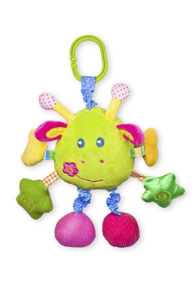 Жирафики Развивающая игрушка Жираф озвученная93563Жираф сшит из тканей разного цвета и разной фактуры. Он с удовольствием исполнит малышу веселую песенку. У него три пары лап: верхние лапки шуршат, в средних спрятаны пищалки, в нижних лапках - погремушка и зеркальце. В ушках жирафа также есть вставки из шуршащего материала. С помощью удобной прищепки жирафа можно подвесить к бортику кроватки.
