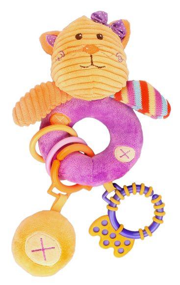 Жирафики Развивающая игрушка Котенок, погремушка93580С кошечкой Лили играть полезно и интересно! Игрушка сделана из ярких тканей разных цветов и разной фактуры. Разноцветные колечки можно перебирать пальчиками, удобный прорезыватель предназначен для молочных зубов ребенка. К колечку приделана пищалка. Играя, ребенок развивает слух, зрение, хватательный рефлекс, тактильные ощущения и мелкую моторику рук.