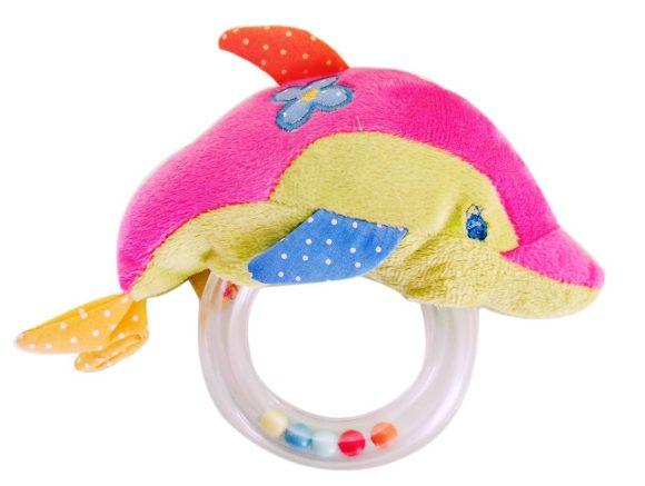 Жирафики Развивающая игрушка Дельфин-погремушка93584Погремушка - очень древняя игрушка! Наши предки считали, что погремушка помогает отогнать злых духов от детской колыбели, а сегодня специалисты утверждают, что игрушка развивает слуховое, пространственное и зрительное восприятие, а также тактильные ощущения, учит находить источник звука, сосредотачиваться и следить за движением. При встряхивании погремушка издает характерный приятный звук. Малыш с интересом будет следить за разноцветными шариками внутри колечка.