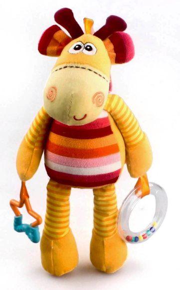 Жирафики Развивающая игрушка Жирафик93656«Жирафик» - развивающая игрушка для малышей. К одной лапке жирафика прикреплена погремушка, а к другой – прорезыватель для зубов. Играя, ребенок развивает слух, тактильные ощущения, хватательный рефлекс и мелкую моторику рук.