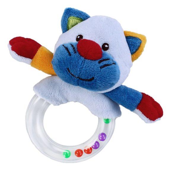 Жирафики Развивающая игрушка Погремушка Кот93665Погремушка - очень древняя игрушка! Наши предки считали, что погремушка помогает отогнать злых духов от детской колыбели, а сегодня специалисты утверждают, что игрушка развивает слуховое, пространственное и зрительное восприятие, а также тактильные ощущения, учит находить источник звука, сосредотачиваться и следить за движением. При встряхивании погремушка издает характерный приятный звук. Малыш с интересом будет следить за разноцветными шариками внутри колечка.