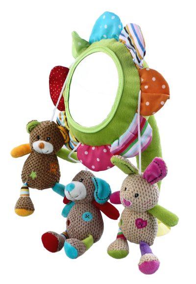 Жирафики Развивающая игрушка Подвеска Веселые Малыши93678Этот удивительный цветок можно разместить несколькими способами, например, поставив его вертикально или, наоборот, расположив зеркальцем вниз. Просто прикрепите присоску так, как нравится вам. Игрушка сделана из тканей разных цветов и фактуры, в лепестки цветка вставлены шуршащие материалы. Играя, малыш развивает мелкую моторику рук, координацию и тактильные ощущения.