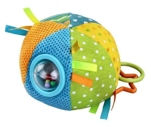 Жирафики Развивающая игрушка Цветной мячик93813Эта игрушка - настоящий тренажер для развития мелкой моторики и координации движений. Внутри прозрачного шарика спрятаны гремящие элементы. Фигурные колечки и ленточки тренируют детские пальчики. Мягкий шар сшит из кусочков тканей разной расцветки и разной фактуры. Играя, ребенок развивает хватательный рефлекс, тактильные ощущения и мелкую моторику рук.