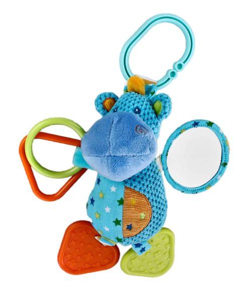 Жирафики Развивающая игрушка Подвеска Бегемотик, с погремушкой, зеркальцем и прорезывателем93814Яркая подвеска привлечет внимание малыша. К «ножкам» забавного бегемотика прикреплены удобные прорезыватели для зубов, а к «ручкам» - фигурные колечки и зеркальце. Играя, ребенок развивает хватательный рефлекс, тактильные ощущения и мелкую моторику рук.