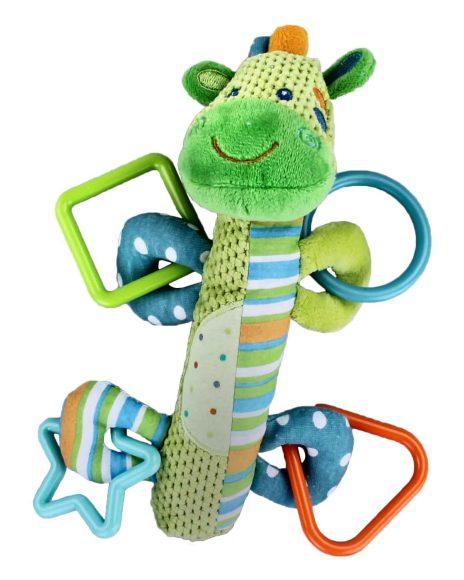 Жирафики Развивающая игрушка Погремушка Зебра с пищалкой93818Внутри туловища у этой симпатичной игрушки спрятан сюрприз - веселая и звонкая пищалка. К лапкам зверюшки прикреплены разноцветные фигурные прорезыватели для молочных зубов малыша. Играя, ребенок развивает мелкую моторику рук и тактильные ощущения.