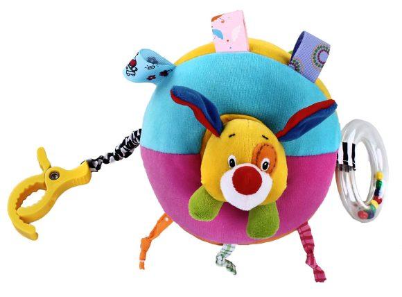 Жирафики Развивающая игрушка Подвеска Собачка, звук и вибрация93850Эта игрушка - настоящий тренажер для развития мелкой моторики и координации движений. Разноцветные колечки, завязочки и ленточки тренируют пальчики, к подвеске приделана погремушка. Внутри разноцветного мячика прячется ушастая собачка, если потянуть голову собачки, то мяч начнет вибрировать. Играя, малыш развивает мелкую моторику рук, слух и тактильные ощущения.