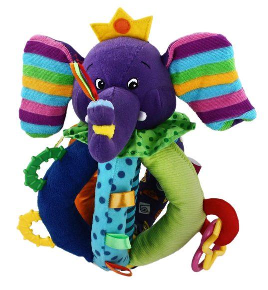 Жирафики Развивающая игрушка Цветной слоник93851Настоящий тренажер для малыша! Игрушка сшита из тканей различного цвета и фактуры. Играя с мягким слоненком, ребенок тренирует мелкую моторику и укрепляет ручки, знакомится с цветами и развивает тактильные ощущения. Если потрясти игрушкой в воздухе, то можно услышать погремушку. В ушки слоника вставлены шуршащие элементы. Разноцветные прорезыватели и зеркальце привлекут внимание малыша. Играя, ребенок развивает слух, хватательный рефлекс, тактильные ощущения и мелкую моторику рук.