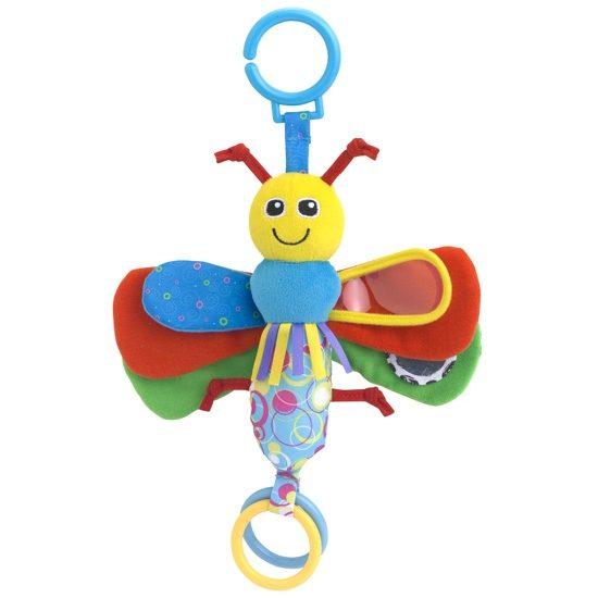Жирафики Развивающая игрушка Подвеска Бабочка93877Подвеска «Бабочка» - развивающая игрушка для малыша: ведь внутри у нее погремушка и шуршалки, а на крылышке – зеркальце. Разноцветные колечки, прикрепленные к игрушке, можно перебирать руками – такое занятие тренирует мелкую моторику. Игрушка, сшитая из ярких материалов различной фактуры, понравится малышу. Играя, ребенок развивает тактильные ощущения, цветовое восприятие и слух.