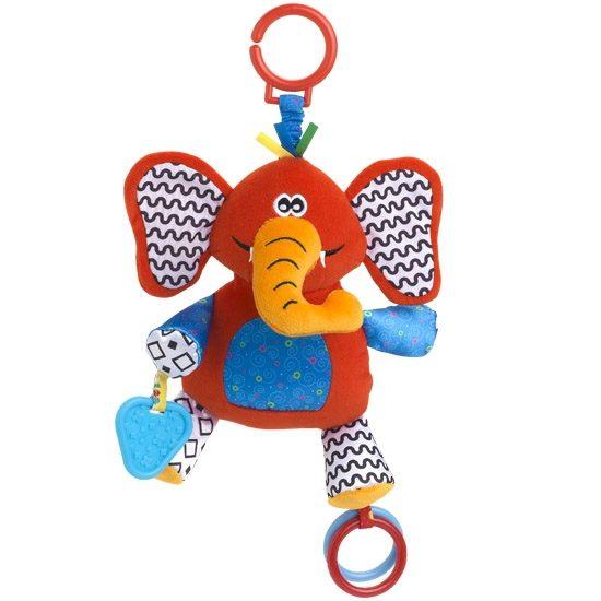 Жирафики Развивающая игрушка Подвеска Слон93878Подвеска «Слон» - развивающая игрушка для малыша: в ушах и лапах слоника спрятаны шуршалки; разноцветные колечки, прикрепленные к игрушке, можно перебирать руками – такое занятие тренирует мелкую моторику. Игрушка, сшитая из ярких материалов различной фактуры, понравится малышу. Играя, ребенок развивает тактильные ощущения и цветовое восприятие.