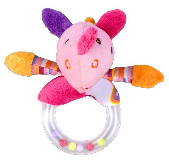 Жирафики Развивающая игрушка Погремушка Динозаврик, розовая93915Эта забавная мягкая игрушка с погремушкой, несомненно, понравится малышу! При встряхивании погремушка издает характерный приятный звук. Кроха с интересом будет следить за разноцветными шариками внутри прозрачного колечка. В древности люди считали, что погремушка помогает отогнать злых духов от детской колыбели, а сегодня специалисты утверждают, что игрушка развивает слуховое, пространственное и зрительное восприятие, а также тактильные ощущения, учит находить источник звука, сосредотачиваться и следить за движением. Длина игрушки: 13 см.