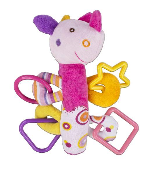 Жирафики Развивающая игрушка Динозаврик с пищалкой, розовая93920Внутри туловища у этой симпатичной игрушки спрятан сюрприз - веселая и звонкая пищалка. К лапкам зверюшки прикреплены разноцветные фигурные прорезыватели для массажа десен. Играя, ребенок развивает мелкую моторику рук и тактильные ощущения. Длина игрушки: 19 см .
