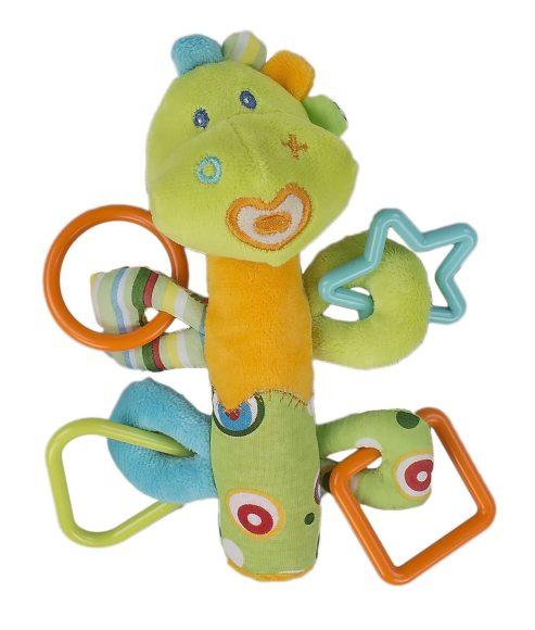 Жирафики Развивающая игрушка Динозаврик с пищалкой, зел.93922Внутри туловища у этой симпатичной игрушки спрятан сюрприз - веселая и звонкая пищалка. К лапкам зверюшки прикреплены разноцветные фигурные прорезыватели для массажа десен. Играя, ребенок развивает мелкую моторику рук и тактильные ощущения. Длина игрушки: 19 см .
