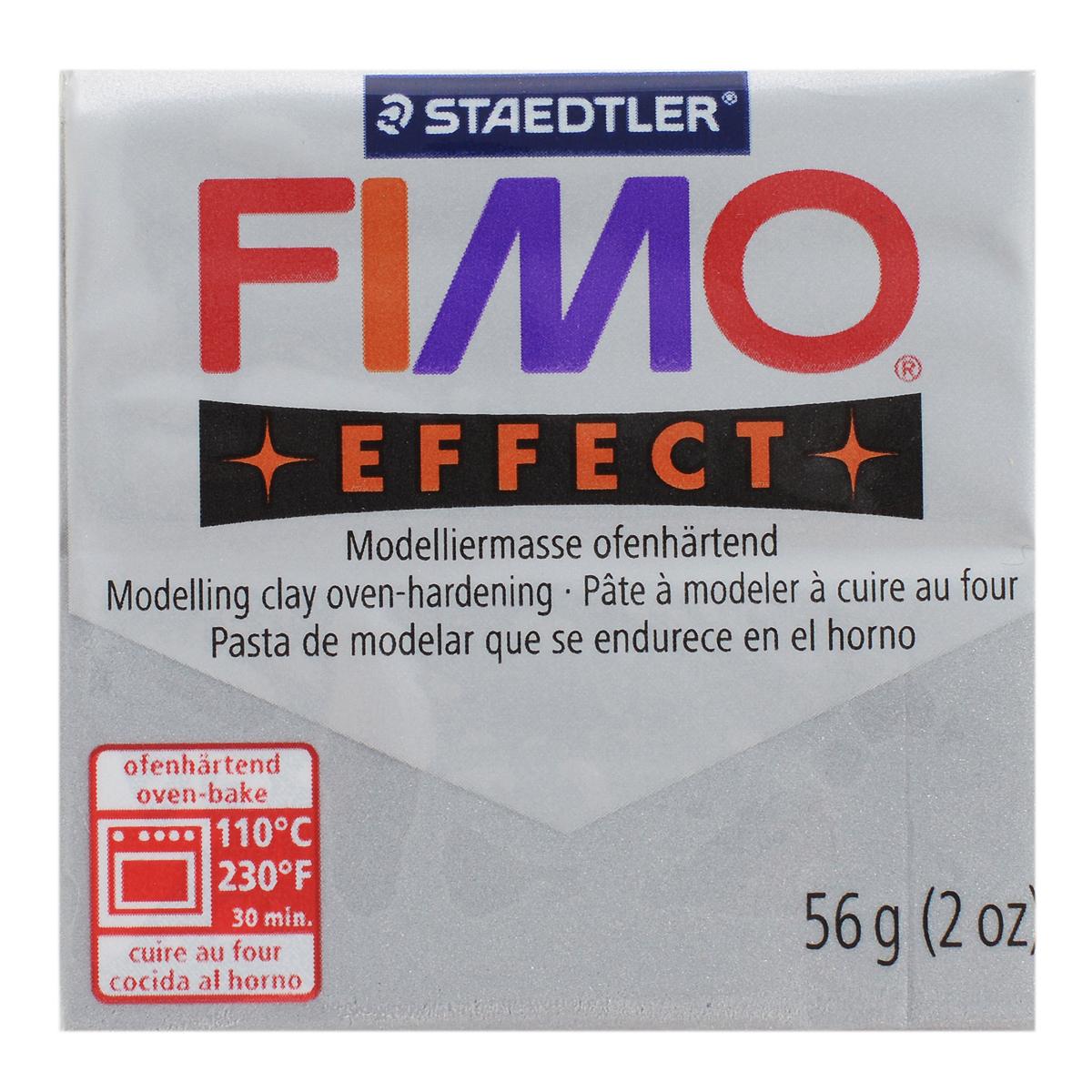 Полимерная глина Fimo Effect Metallic, цвет: серебро, 56 г8020-81Мягкая глина на полимерной основе (пластика) Fimo Effect Metallic идеально подходит для лепки небольших изделий (украшений, скульптурок, кукол) и для моделирования. Глина обладает отличными пластичными свойствами, хорошо размягчается и лепится, легко смешивается между собой, благодаря чему можно создать огромное количество поделок любых цветов и оттенков. Блок поделен на восемь сегментов, что позволяет легче разделять глину на порции. В домашних условиях готовая поделка выпекается в духовом шкафу при температуре 110°С в течении 15-30 минут (в зависимости от величины изделия). Отвердевшие изделия могут быть раскрашены акриловыми красками, покрыты лаком, склеены друг с другом или с другими материалами. Состав: поливинилхлорид, пластификаторы, неорганические наполнители, цветные пигменты.