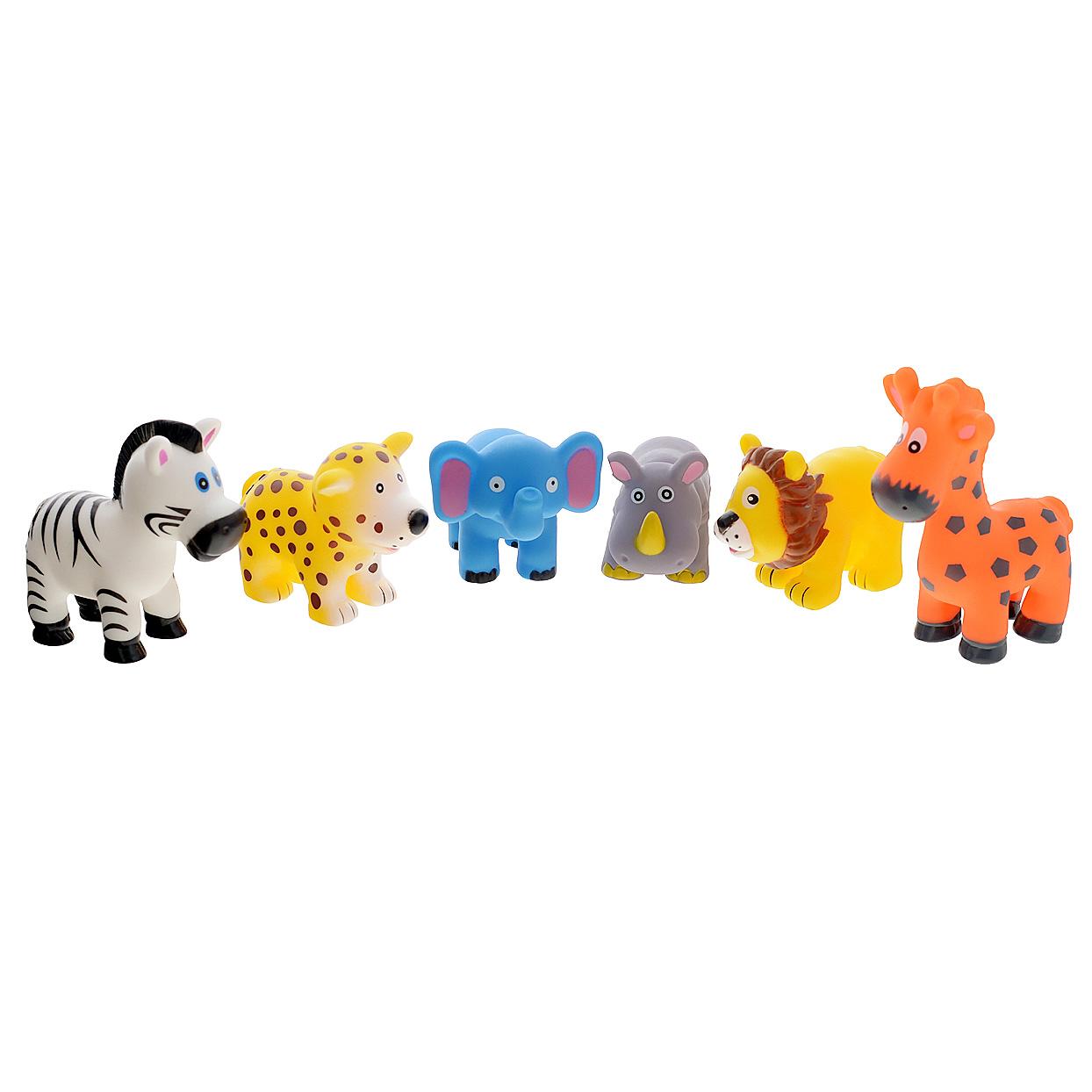Набор игрушек для ванны Курносики Животные Африки, набор №225133_набор №2Набор игрушек для ванны Курносики Животные Африки, непременно, понравится вашему ребенку и превратит купание в веселую игру! В набор входят шесть ярких игрушек, выполненных из ПВХ в виде очаровательных животных. Если сжать их во время купания в ванне, они начинают забавно брызгаться водой. Набор игрушек для ванны Курносики Животные Африки способствует развитию у ребенка воображения, цветового восприятия, тактильных ощущений и мелкой моторики рук. Оригинальный стиль и великолепное качество исполнения делают этот набор чудесным подарком к любому празднику, а жизнерадостные образы представят его в самом лучшем свете. Набор состоит из фигурок:зебры, жирафа, слоненка, льва, бегемота и леопарда.
