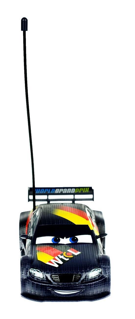 Cars Машина на радиоуправлении Max Schnell3089511Dickie Cars 3089511 Макс Шнель на радиоуправлении, 1:24, 18 см., 1/4 - в точности повторяет знаменитого героя мультфильма Тачки Макс Шнеля. Корпус сделан из легкого пластика, что снижает вес автомобиля. Машинка имеет кнопку Тубро, которая позволяет сделать резкий рывок и первым прийти к финишу. Радиус действия приема до 15 метров. Машинка может ездить назад, вперед, колеса поворачиваются на 45 градусов.