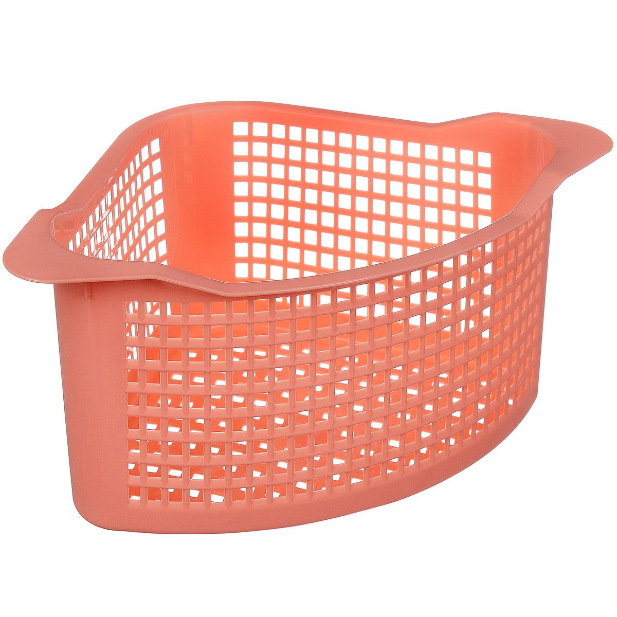 Корзинка универсальная Econova, угловая, цвет: коралловый, 29 х 18 х 12 см718343_коралловыйУниверсальная угловая корзинка Econova, изготовленная из высококачественного прочного пластика, предназначена для хранения мелочей в ванной, на кухне или даче. Это легкая корзина с жесткой кромкой и небольшими отверстиями позволяет хранить мелкие вещи, исключая возможность их потери. Размер: 29 см х 18 см х 12 см.