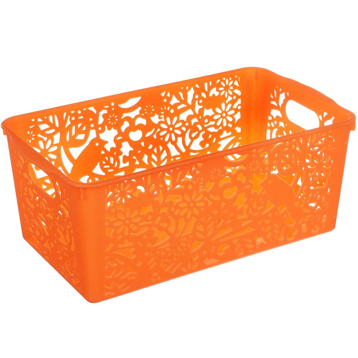 Корзина для хранения Sima-land Птицы, цвет: оранжевый, 28 см х 15 см х 11 см799920_оранжевыйПрямоугольная корзина Sima-land Птицы, изготовленная из пластика, предназначена для хранения мелочей в ванной, на кухне, даче или гараже. Позволяет хранить мелкие вещи, исключая возможность их потери. Корзина со сплошным дном и перфорированными стенками, оснащена ручками для удобной переноски. Элегантный выдержанный дизайн позволяет органично вписаться в ваш интерьер и стать его элементом.
