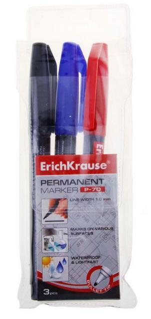 Erich Krause Набор 3 перманентных маркера P-70 37077