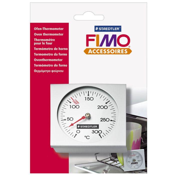 Термометр для духовки Fimo8700 02Термометр Fimo выполнен из высококачественного металла и предназначен для определения температуры в духовке. Такой термометр рекомендуется использовать при закреплении форм из полимерной глины или других материалов, требующих прохождения термической обработки. Он измеряет температуру от 0 °C до 300 °C (погрешность +/-2 градуса) и необычайно прост в использовании, достаточно просто поставить его в духовку.