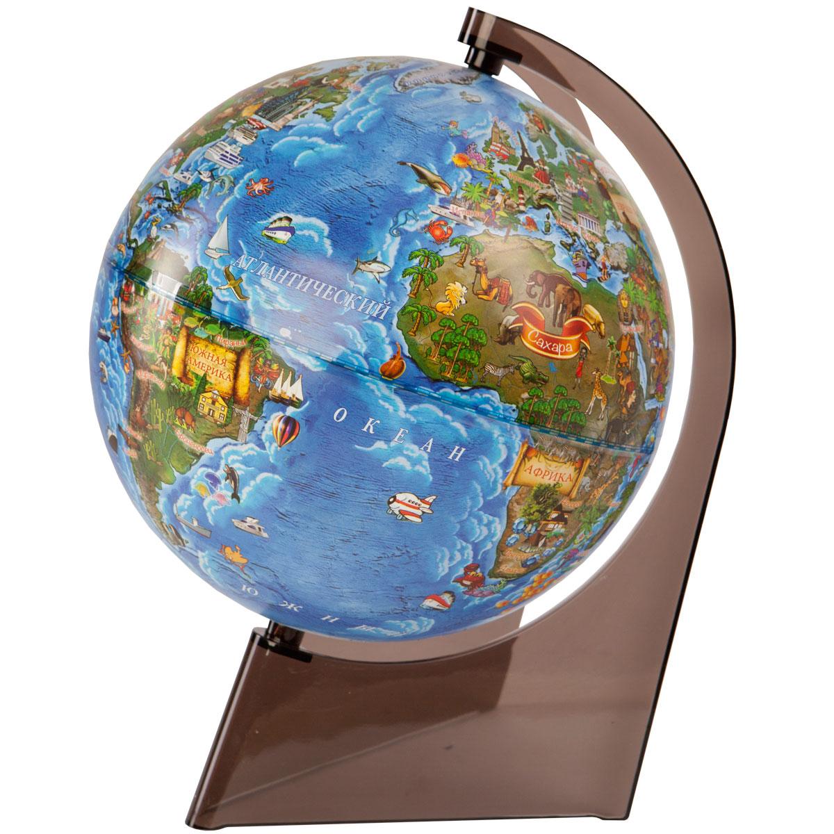 Глобус Земли для детей диаметр 210 мм на треугольной подставке