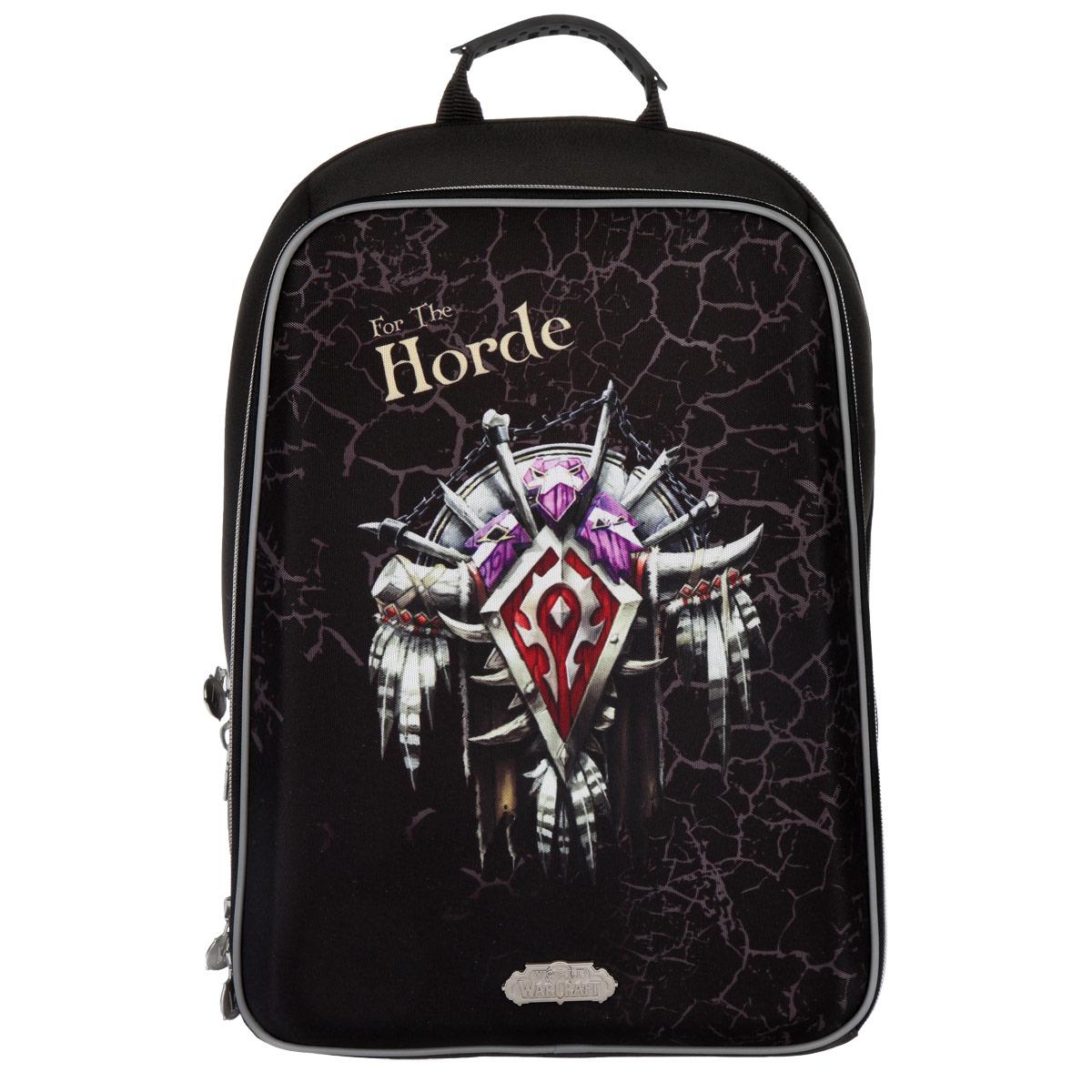 Рюкзак Proff World of Warcraft, жесткая форма, цвет: черныйWC15-HBP-02Рюкзак Proff War Craft выполнен из высококачественного плотного материала и отлично держит форму. Рюкзак содержит одно основное и одно дополнительное отделения. В основном отделении имеется двойной сквозной карман на липучке, подходящий для переноски ноутбука и документов формата А4. Дополнительное отделение содержит карман-сетку на застежке-молнии и большой открытый карман с нашитыми на него маленькими открытыми карманами для различных принадлежностей. Эргономичная конструкция спинки снижает давление и оптимально распределяет нагрузку на позвоночник ребенка, способствуя формированию правильной осанки. Для удобства и комфорта спинка и лямки изделия дополнены эргономичными подушечками и противоскользящей сеточкой с вентиляционными отверстиями. Ранец оснащен текстильной ручкой с резиновой насадкой для удобной переноски в руке. Широкие мягкие лямки регулируются по длине и равномерно распределяют нагрузку на плечевой пояс. Устойчивое дно ранца изготовлено из прочного...