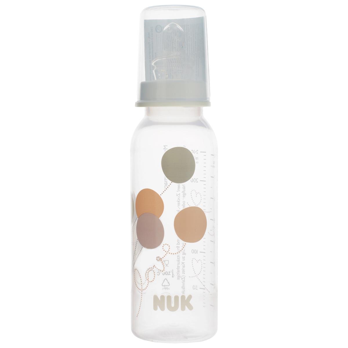 """Бутылочка для кормления """"NUK"""", с силиконовой соской, от 0 до 6 месяцев, цвет: белый, 240 мл 10741419_белый"""