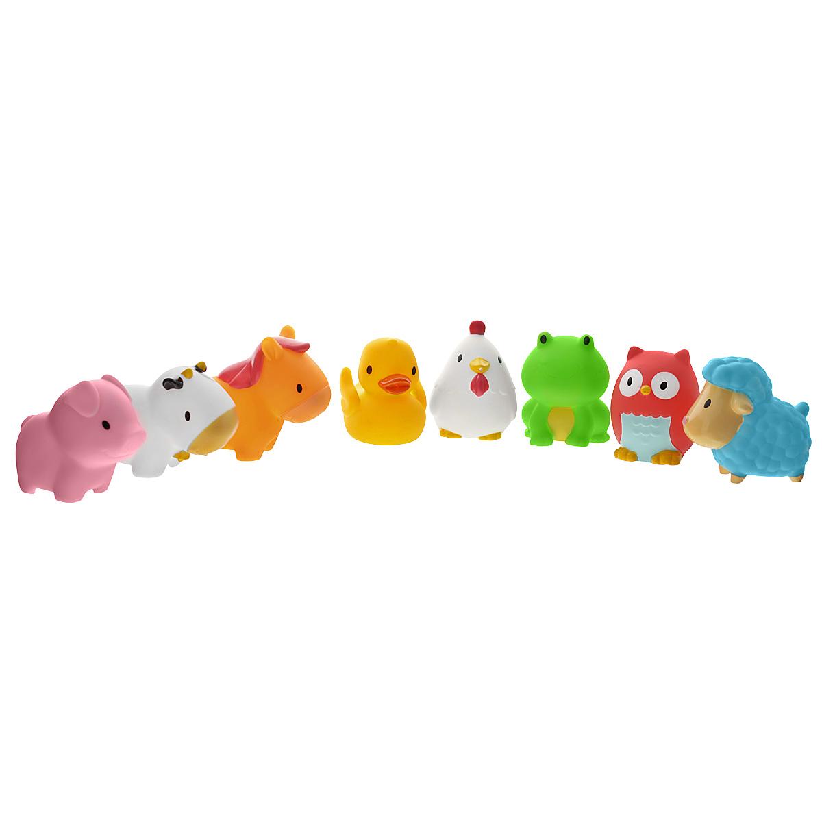 Набор игрушек для ванны Munchkin Squirtin Farmyard Friends, 8 шт11966Набор игрушек для ванны Munchkin Squirtin Farmyard Friends непременно понравится вашему ребенку и превратит купание в веселую игру! Набор включает в себя десять игрушек-брызгалок в виде очаровательных животных, живущих на ферме. Яркие игрушки выполнены из мягкого безопасного материала и приятны на ощупь. Если сначала набрать воду в игрушки, а потом нажать на них, то изо рта брызнет тонкая струя воды, что, несомненно, развеселит вашего малыша. Набор игрушек Squirtin Farmyard Friends способствует развитию воображения, цветового восприятия, тактильных ощущений и мелкой моторики рук, а также поможет выучить названия животных. Кредо Munchkin, американской компании с 20-летней историей: избавить мир от надоевших и прозаических товаров, искать умные инновационные решения, которые превращает обыденные задачи в опыт, приносящий удовольствие. Понимая, что наибольшее значение в быту имеют именно мелочи, компания создает уникальные товары, которые помогают поддерживать...