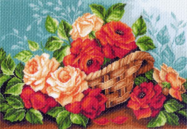 Канва с рисунком для вышивания Розы в корзине, 39 х 27 см549907_1241Канва с рисунком для вышивания Розы в корзине изготовлена из хлопка. Рисунок-вышивка выполненный на такой канве, выглядит очень оригинально. Вышивка выполняется в технике полный крестик в 2-3 нити или полукрестом в 4 нити. Вышивание отвлечет вас от повседневных забот и превратится в увлекательное занятие! Работа, сделанная своими руками, создаст особый уют и атмосферу в доме и долгие годы будет радовать вас и ваших близких, а подарок, выполненный собственноручно, станет самым ценным для друзей и знакомых. Рекомендуемое количество цветов: 23. Размер канвы: 37 см х 49 см.