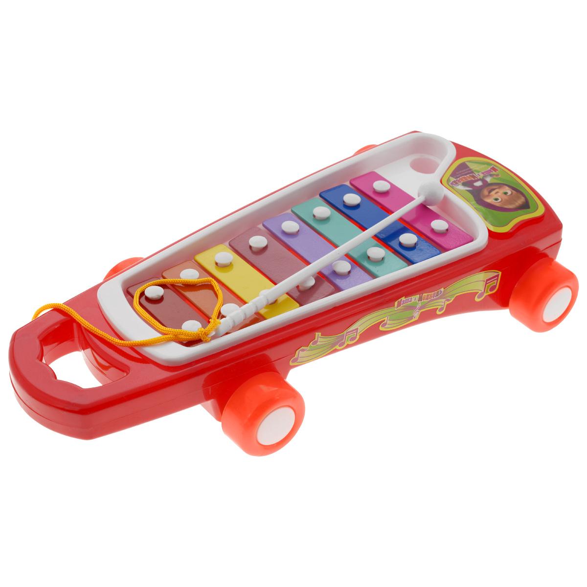Металлофон Маша и Медведь600,EG8422Металлофон Маша и Медведь приведет в восторг вашего маленького музыканта. Металлофон - это металлический ксилофон, который отличается высоким чистым звуком. Занятия музыкой благотворно влияют на развитие детей. Металлофон выполнен из прочного пластика и оснащен 8 металлическими пластинами, которые, при ударе по ним пластиковой палочкой, издают приятный мелодичный звон. Ударная палочка прикреплена к металлофону шнурком, благодаря чему малыш сможет не опасаться, что случайно потеряет ее. Металлофон дополнен колесиками, которые позволят ребенку без труда передвигать его. Игра на металлофоне поможет развить слух, звуковое и цветовое восприятия, концентрацию внимания и мелкую моторику рук ребенка.