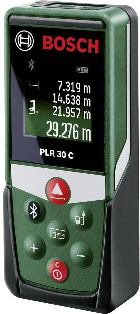 Лазерный дальномер Bosch PLR 30 C0603672120Лазерные дальномеры BOSCH PLR 30 C - это высокоточное измерение ± 2,0 мм расстояний до 30 м с лазерной технологией. Удобное протоколирование результатов измерения посредством Bluetooth с приложением Bosch PLR Measure&Go. Прибор выполняет: расчет площади, объема, функции сложения/вычитания, непрерывное измерение, измерение длины. Тому, кто хочет знать, сколько литров краски, сколько метров обоев, сколько квадратных метров паркета, ламината, коврового покрытия или метров ткани для штор ему нужно для ремонта и обустройства своего дома, требуются точные результаты измерений. Обмер, особенно в уже обжитых помещениях, с использованием складного метра и т. п., постоянно сопряжен с необходимостью складывания длин отдельных участков, расчета отдельных результатов измерений в голове или их записью карандашом на бумаге. Ошибки расчетов быстро дают о себе знать - и подчас они приводят к большим незапланированным расходам. Недостаточное количество купленной краски, рулонов...