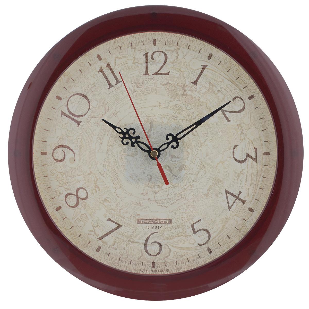 Часы настенные Troyka Пергамент, цвет: бежевый, коричневый. 1113114911131149Настенные кварцевые часы Troyka Пергамент, изготовленные из пластика, прекрасно подойдут под интерьер вашего дома. Круглые часы имеют три стрелки: часовую, минутную и секундную, циферблат украшен изображением пергамента и защищен прозрачным пластиком. Диаметр часов: 29 см. Часы работают от 1 батарейки типа АА напряжением 1,5 В (входит в комплект).