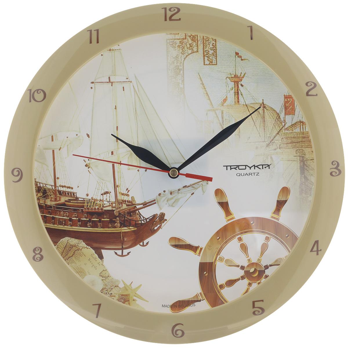 """Часы настенные Troyka """"Парусник со штурвалом"""", цвет: белый, бежевый. 11135172"""