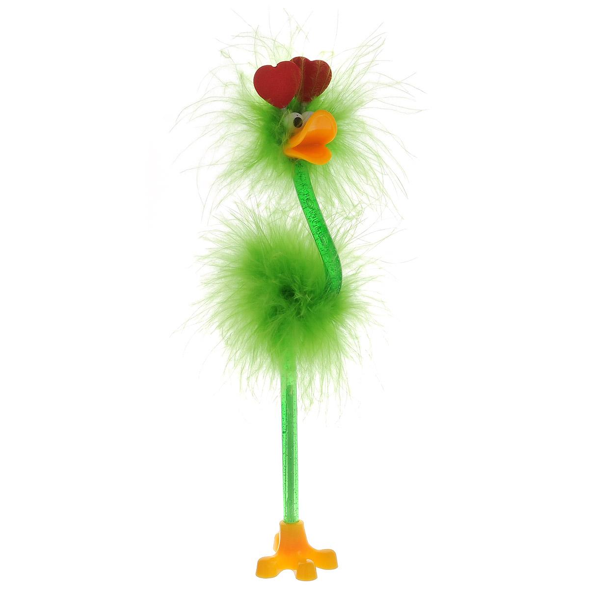 Ручка-игрушка Flamingo, с сердечками, с подставкой, цвет: салатовый82965_салатовый, сердцеОригинальная шариковая ручка-игрушка Flamingo станет отличным подарком и незаменимым аксессуаром на вашем рабочем столе. Ручка, украшенная перьями, выполнена в виде забавной птички фламинго с антеннами-сердечками. К ручке прилагается подставка в виде лапки. Такая ручка - это забавный и практичный подарок, она не потеряется среди бумаг и непременно вызовет улыбку окружающих.