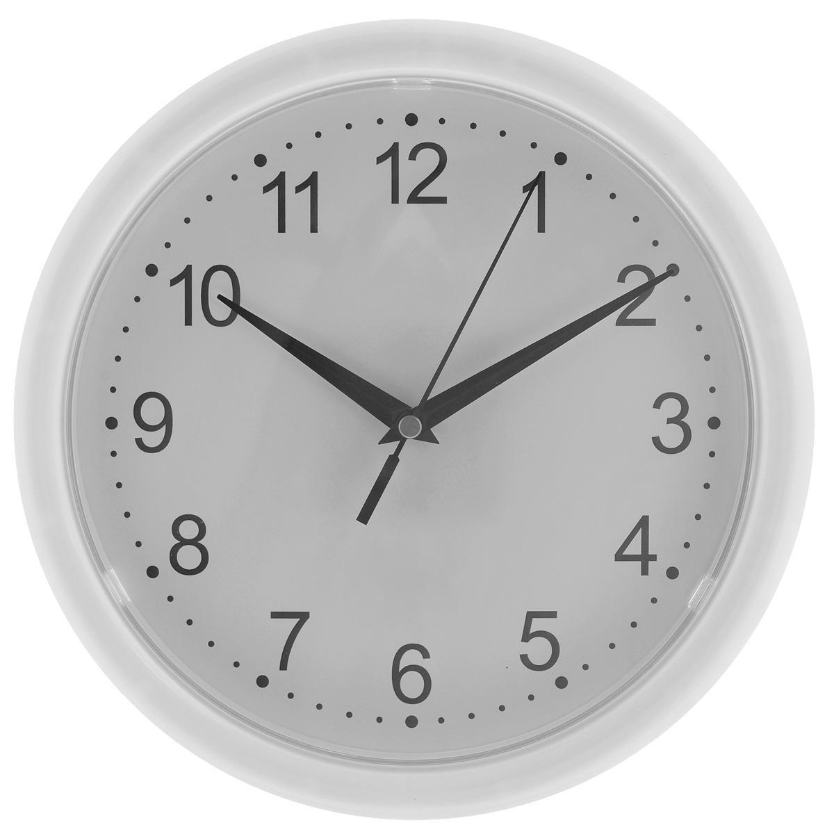 Часы настенные Troyka, цвет: белый. 2121021321210213Настенные кварцевые часы с классическим дизайном Troyka, изготовленные из пластика, прекрасно подойдут под интерьер вашего дома. Круглые часы имеют три стрелки: часовую, минутную и секундную, циферблат защищен прозрачным пластиком. Диаметр часов: 24,5 см. Часы работают от 1 батарейки типа АА напряжением 1,5 В (входит в комплект).