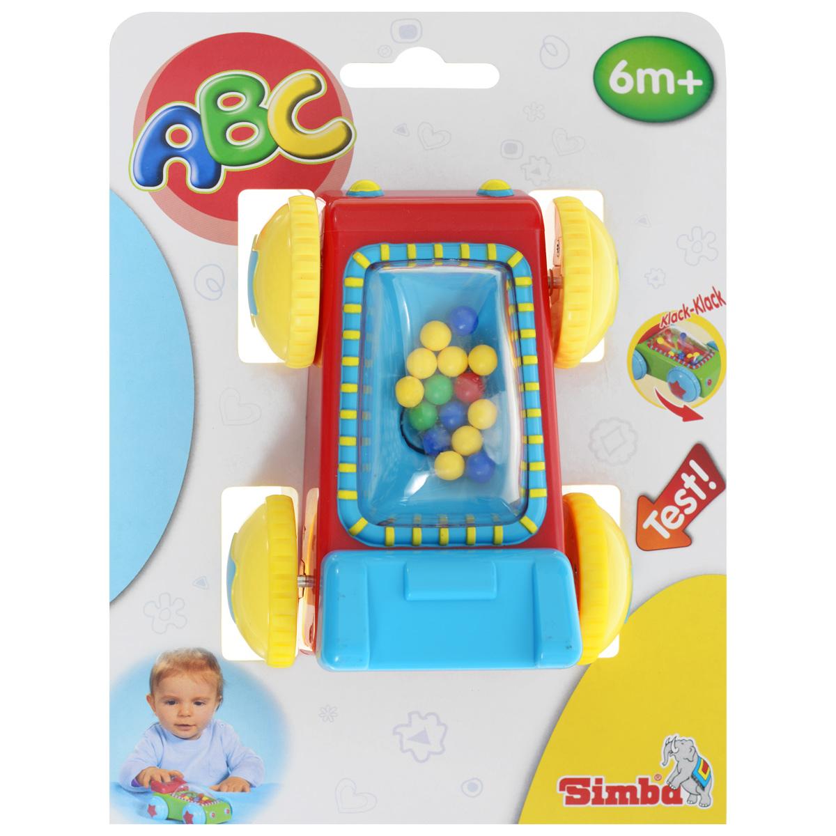 Simba Машинка-погремушка цвет красный желтый4014239_красныйКрасочная машинка-погремушка Simba понравится любому малышу. Игрушка изготовлена из высококачественного пластика ярких оттенков, ее удобно катать маленькой ручке. Во время движения разноцветные шарики подпрыгивают и ударяются об окошко. Благодаря данной игрушке ребенок будет развивать мелкую моторику и цветовое восприятие.
