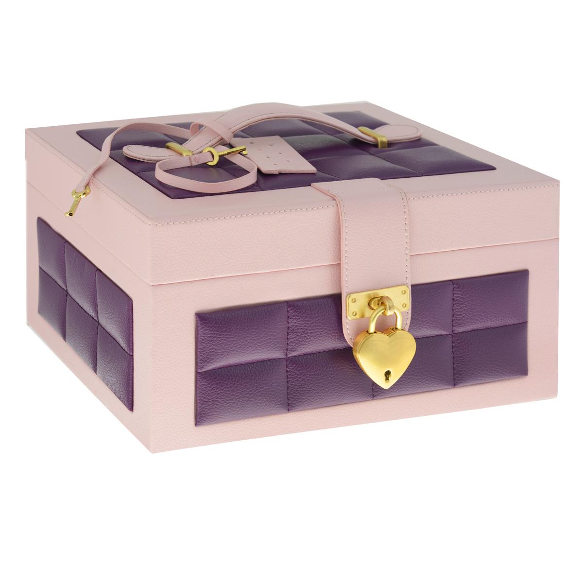Шкатулка для украшений, цвет: розовый, фиолетовыйJB-01911Шкатулка для украшений выполнена в виде сундучка из искусственной кожи. Внутренняя поверхность шкатулки отделана бархатом. На внутренней стороне крышки имеется зеркальце и карман на резинке. Шкатулка закрывается на ремешок и замочек, выполненный в форме сердца, в комплекте - два ключа. Крышка оснащена ручкой для удобной переноски изделия. Шкатулка имеет два отделения: съемное верхнее и нижнее. Верхнее отделение содержит шесть небольших секций для цепочек и браслетов, а также две больших секции (одна из которых оснащена крышкой) для более крупных украшений. Валики используются под кольца и серьги. Большое нижнее отделение не содержит никаких перегородок и предназначено для хранения аксессуаров больших размеров. Великолепная шкатулка не оставит равнодушной ни одну любительницу изысканных вещей. Сочетание оригинального дизайна и функциональности сделает такую шкатулку практичным и стильным подарком и предметом гордости ее обладательницы.