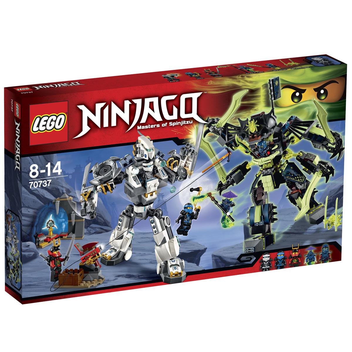 LEGO NINJAGO Конструктор Битва механических роботов 7073770737Конструктор Битва механических роботов станет отличным подарком фанатам серии LEGO NINJAGO! Ниндзя Зейн и Повелитель Клинков Банша построили механических роботов, чтобы сойтись в решающей битве. Каждый из получившихся гигантов имеет шарнирное строение конечностей и вращающийся торс, позволяющий принимать реалистичные боевые позы, наносить мощные удары и не терять равновесия. Робот Зейна выполнен из бело-серых деталей с добавлением наклеек и прозрачных голубых элементов. Центральное место отведено кабине водителя, прикрытой непробиваемой пластиной. Над ней возвышается защитный шлем, напоминающий голову дрона со сканирующим глазом. По бока от кабины установлены две самонаводящиеся пушки и вращающиеся титановые наплечники с острыми лезвиями. Руки робота трансформированы в активные манипуляторы с цепкими пальцами. На них закреплены длинные мечи и золотые сюрикены. Для сражений в воздухе к спине гиганта приделан ранец с ракетными ускорителями. ...