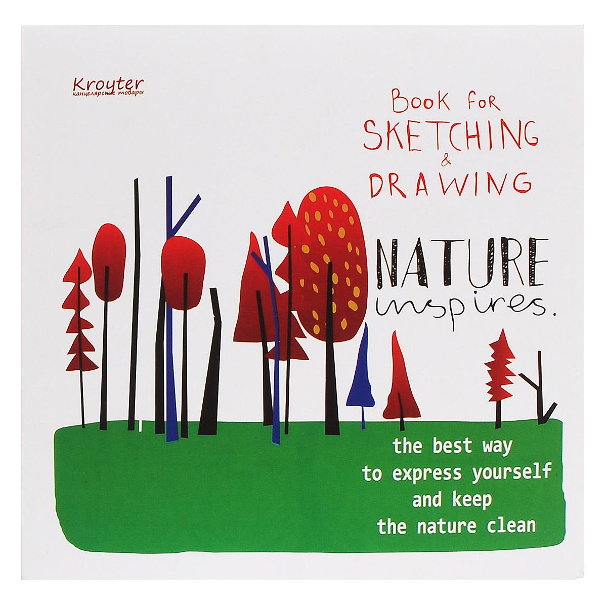 Альбом для эскизов Kroyter, 20 х 20 см, 60 листов05985Альбом Kroyter предназначен для эскизов и рисования, подходит для работ тушью. Крепление блока - клеевое. Обложка выполнена из высококачественного мелованного картона. Альбом имеет стильный, современный дизайн. Картонная подложка планшет позволяет рисовать даже на весу.