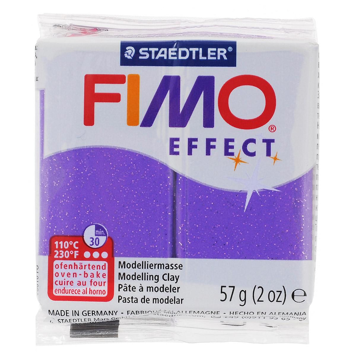 Полимерная глина Fimo Effect Metallic, цвет: лиловый, 57 г8020-602Мягкая глина на полимерной основе (пластика) Fimo Effect Metallic идеально подходит для лепки небольших изделий (украшений, скульптурок, кукол) и для моделирования. Глина обладает отличными пластичными свойствами, хорошо размягчается и лепится, легко смешивается между собой, благодаря чему можно создать огромное количество поделок любых цветов и оттенков. Блок поделен на восемь сегментов, что позволяет легче разделять глину на порции. В домашних условиях готовая поделка выпекается в духовом шкафу при температуре 110°С в течении 15-30 минут (в зависимости от величины изделия). Отвердевшие изделия могут быть раскрашены акриловыми красками, покрыты лаком, склеены друг с другом или с другими материалами. Состав: поливинилхлорид, пластификаторы, неорганические наполнители, цветные пигменты.