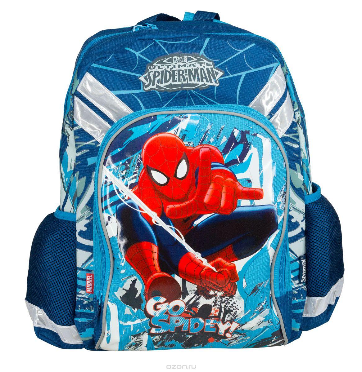 Рюкзак школьный Kinderline Spider-man Classic, цвет: синий, красный, белый. SMCB-MT1-988MSMCB-MT1-988MРюкзак школьный Kinderline Spider-man Classic выполнен из износоустойчивых материалов с водонепроницаемой основой, декорирован яркой аппликацией. Рюкзак имеет одно основное отделение, закрывающееся на молнию с двумя бегунками. Внутри отделения расположены два разделителя с утягивающей резинкой для тетрадей и учебников. На лицевой стороне ранца расположен накладной карман на молнии. По бокам ранца размещены два дополнительных накладных открытых кармана. Уплотненная спинка равномерно распределяет нагрузку на плечевые суставы и спину. Удлиненные держатели облегчают фиксацию длины ремней с мягкими подкладками. Ранец оснащен удобной ручкой для переноски и двумя широкими лямками, регулируемой длины. Многофункциональный школьный ранец станет незаменимым спутником вашего ребенка в походах за знаниями.