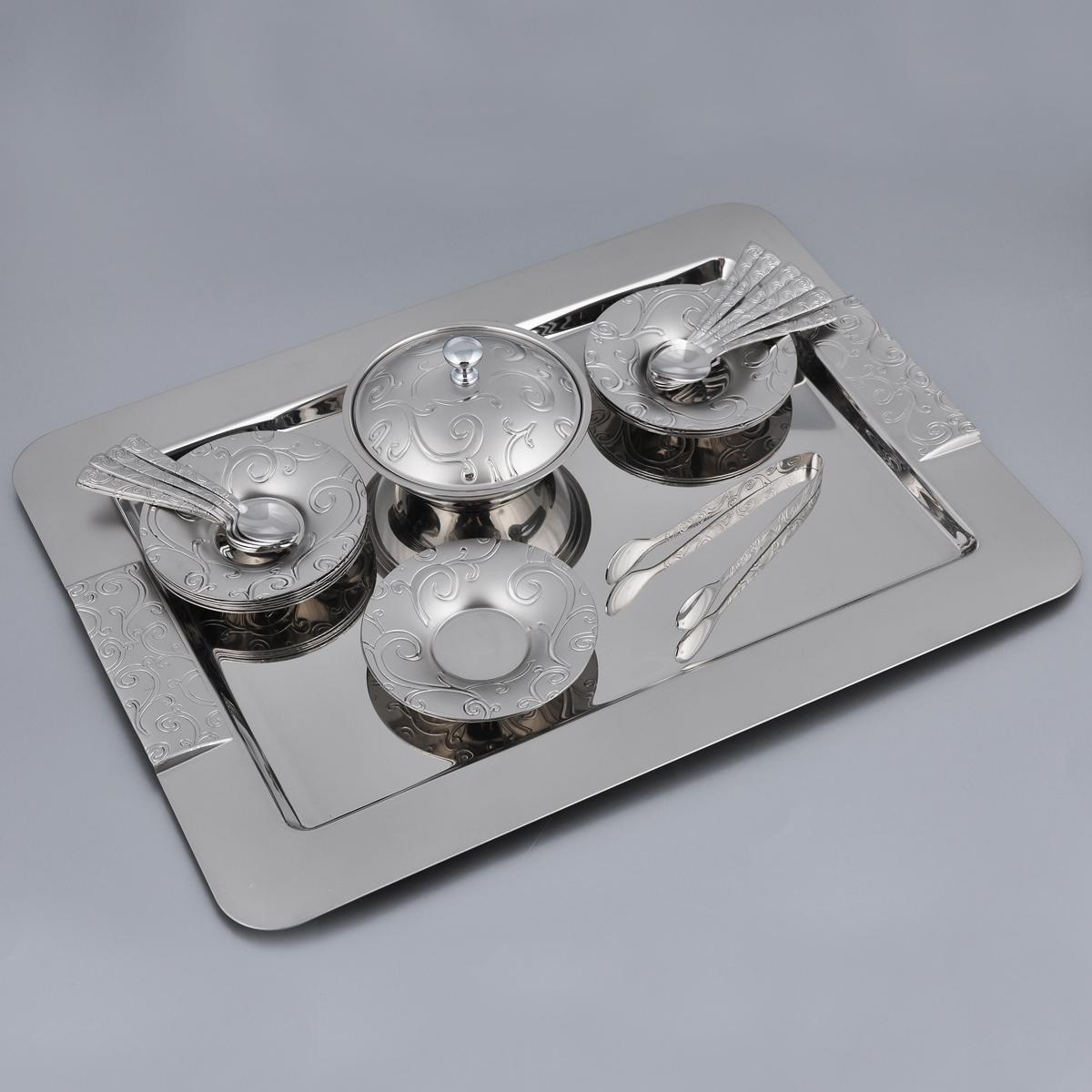 Набор десертный Korkmaz Spring, 28 предметовA1794Десертный набор Korkmaz Spring состоит из подноса, сахарницы с крышкой, 12 десертных ложечек, 12 блюдец и щипцов для сахара, изготовленных из высококачественной нержавеющей стали марки 18/10. Отполированные до блеска поверхности имеют специальное покрытие, позволяющее длительное время сохранять яркость изделий. Предметы набора оформлены изящными узорами и имеют комбинированную зеркальную и матовыю поверхность. Десертный набор Korkmaz Spring - идеальный и необходимый подарок для вашего дома и для ваших друзей в праздники, юбилеи и торжества! Он также станет отличным корпоративным подарком и украшением любой кухни. Количество блюдец: 12 шт. Диаметр блюдец: 10,5 см. Высота блюдец: 1,5 см. Количество ложечек: 12 шт. Длина ложечек: 10,5 см. Размер рабочей части ложечек: 3 см х 2,2 см. Высота сахарницы (с учетом крышки): 7,5 см. Диаметр сахарницы по верхнему краю: 11,5 см. Размер подноса: 42 см х 31 см х 2 см. ...
