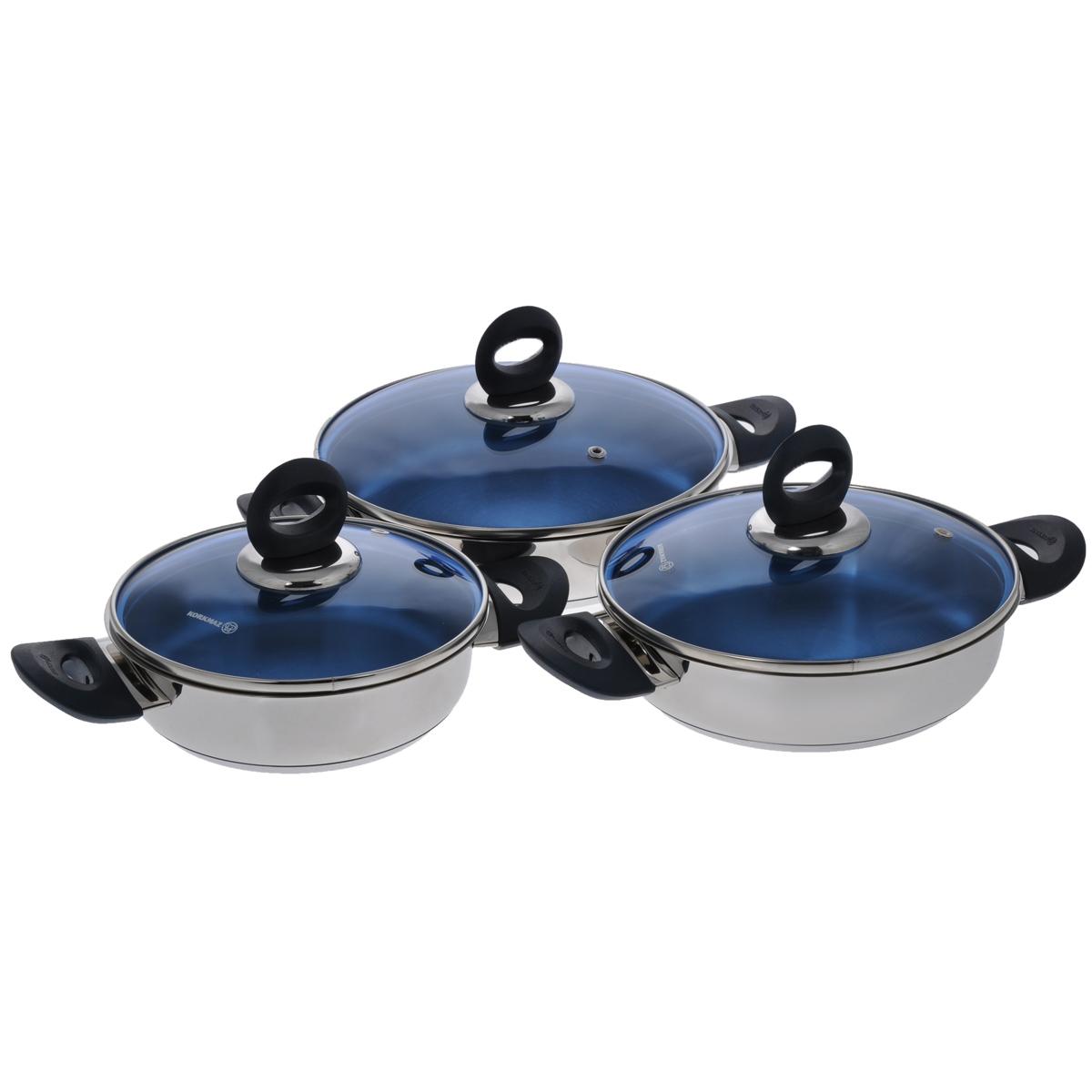 Набор сковород-омлетниц Korkmaz Mavis, 6 предметовA1670Набор Korkmaz Mavis включает 3 сковороды-омлетницы с крышками. Изделия выполнены из высокопрочной Cr-Ni нержавеющей стали марки 18/10 с внешней зеркальной полировкой. Инкапсулированное толстое дно обеспечивает наилучшее распределение и сохранение тепла. Поверхность посуды гигиенична, устойчива к появлению царапин, легко чистится. Отполированные до блеска поверхности длительное время сохраняют яркость. Посуда оснащена эргономичными ручками из бакелита. Крышки выполнены из удароустойчивого жаропрочного стекла голубого цвета, с пароотводом и металлическим ободом. Они плотно прилегают к краю посуды, сохраняют аромат блюд и позволяют готовить без потери тепла. Специальная форма посуды идеальна для приготовления омлета. Особая эстетическая округлая форма, яркий современный дизайн, сочные цвета - благодаря всему этому посуда выглядит стильно и оригинально. Посуду можно использовать на всех типах плит, включая индукционные. Подходит для чистки в...