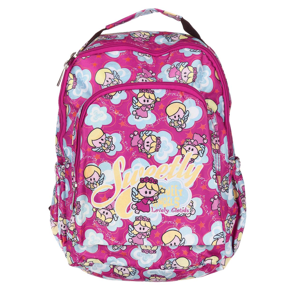 Рюкзак детский Hatber Angels, цвет: розовый, желтый, голубой. NRk_00322NRk_00322Рюкзак детский Hatber Angels очень легкий и прочный, изготовлен из нейлона. Рюкзак имеет одно основное отделение с секретным карманом на молнии, три внешних кармана, один на лицевой стороне и два боковых. На тыльной стороне рюкзака имеется небольшой карман на молнии, обеспечивающий быстрый доступ к необходимым вещам. Рюкзак оснащен широкими плечевыми ремнями, которые регулируются по длине, и нейлоновой ручкой для переноски в руке.