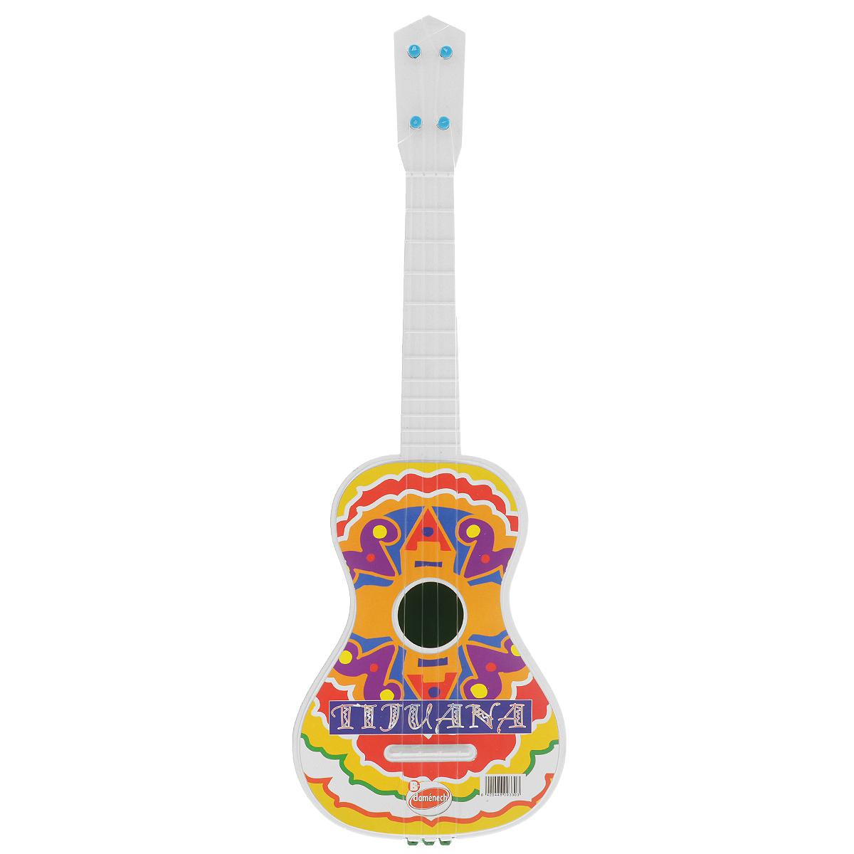 Гитара Domenech Tijuana03/09330Четырехструнная гитара Domenech Tijuana послужит замечательным подарком для вашего ребенка. Гитара выполнена из пластика и украшена яркими узорами, и имеет удобные размеры для маленьких детских ручек. Струны гитара не регулируются, но каждая имеет свое звучание. Детская гитара поможет ребенку в развитии слуха и творческих способностей. Перебирая струны, малыш не только знакомится с миром музыки, но и тренирует ловкость пальчиков и мелкую моторику.