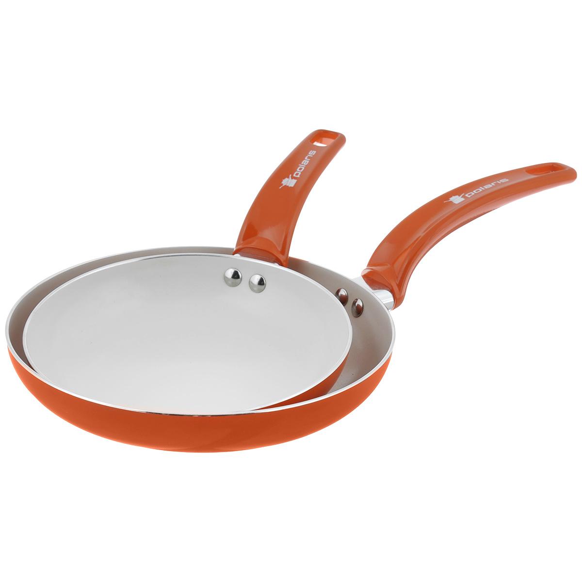 Набор сковород Polaris Rainbow, с керамическим покрытием, цвет: оранжевый, 2 штRain-2024FНабор Polaris Rainbow включает две сковородки разного диаметра, выполненные из штампованного алюминия с керамическим антипригарным покрытием. Покрытие экологично, не содержит примеси PFOA и PTFE. Эргономичная ручка из бакелита не нагревается в процессе эксплуатации. Изделия подходят для всех типов плит, кроме индукционных. Можно мыть в посудомоечной машине. Диаметр сковород (по верхнему краю): 20 см, 24 см. Высота стенки сковород: 4 см, 4,5 см. Длина ручки сковород: 16 см, 18 см. Толщина стенки: 2,5 мм. Толщина дна: 3 мм.