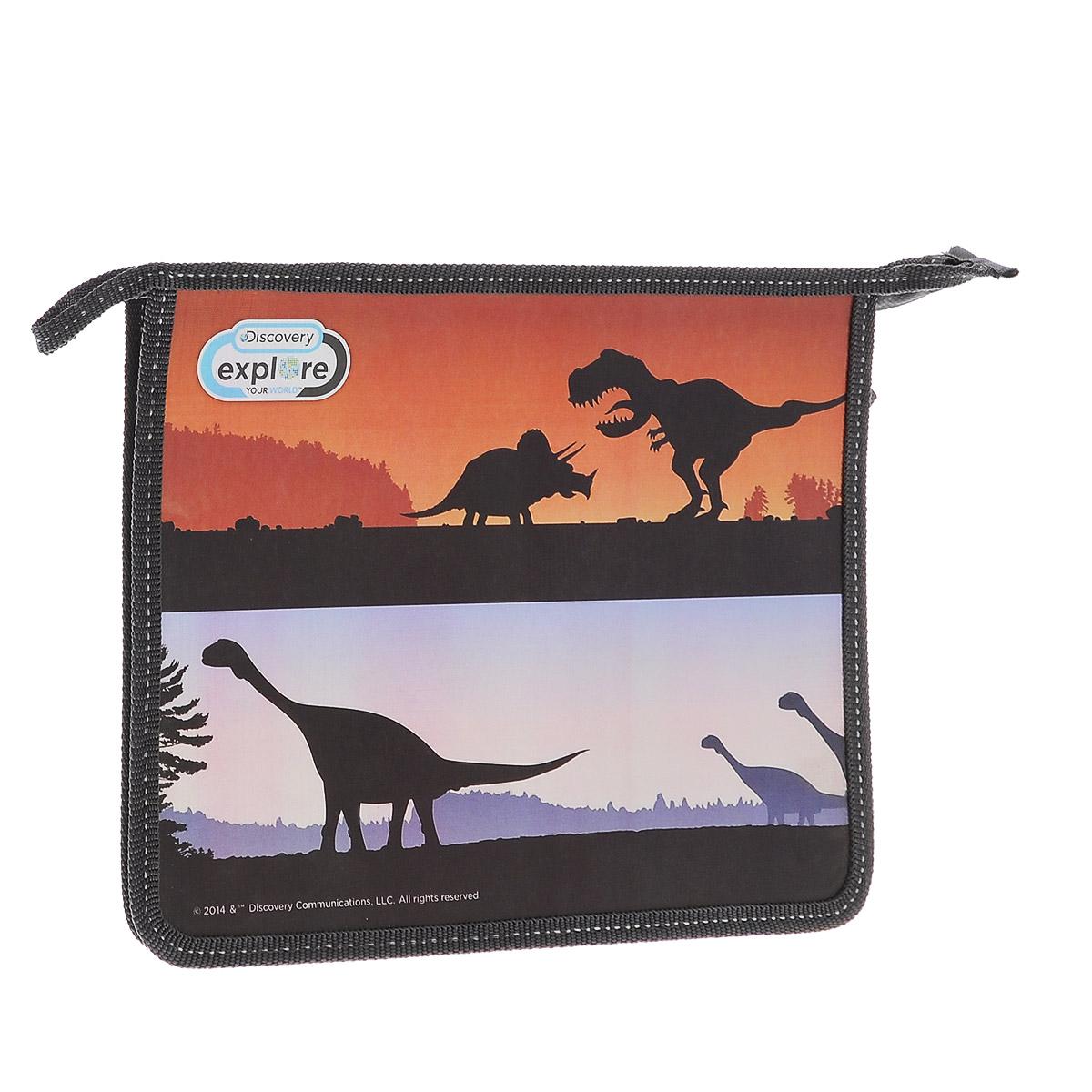 Action! Папка для тетрадей Discovery Динозавры цвет черныйC32164/DV-FZA5_серыйПапка Action! Discovery предназначена для хранения тетрадей, рисунков и прочих бумаг с максимальным форматом А5. Папка выполнена из прочного материала и содержит одно отделение. Закрывается она на застежку-молнию. Лицевая сторона папки оформлена изображениями силуэтов динозавров. С папкой Action! Discovery тетради вашего ребенка всегда будут выглядеть опрятно.