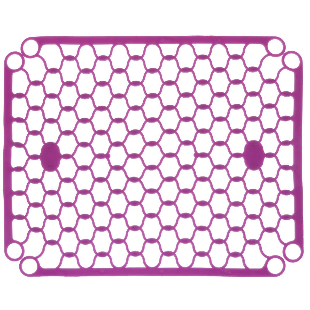 Коврик для раковины Хозяюшка Мила, цвет: сиреневый, 31 см х 24,5 см36055_сиреневыйСтильный и удобный коврик для раковины Хозяюшка Мила выполнен из силикона. Он одновременно выполняет несколько функций: украшает, предотвращает появление на раковине царапин и сколов, защищает посуду от повреждений при падении в раковину, удерживает мусор, попадание которого в слив приводит к засорам. Изделие также обладает противоскользящим эффектом и может использоваться в качестве подставки для сушки чистой посуды. Легко очищается от грязи и жира.