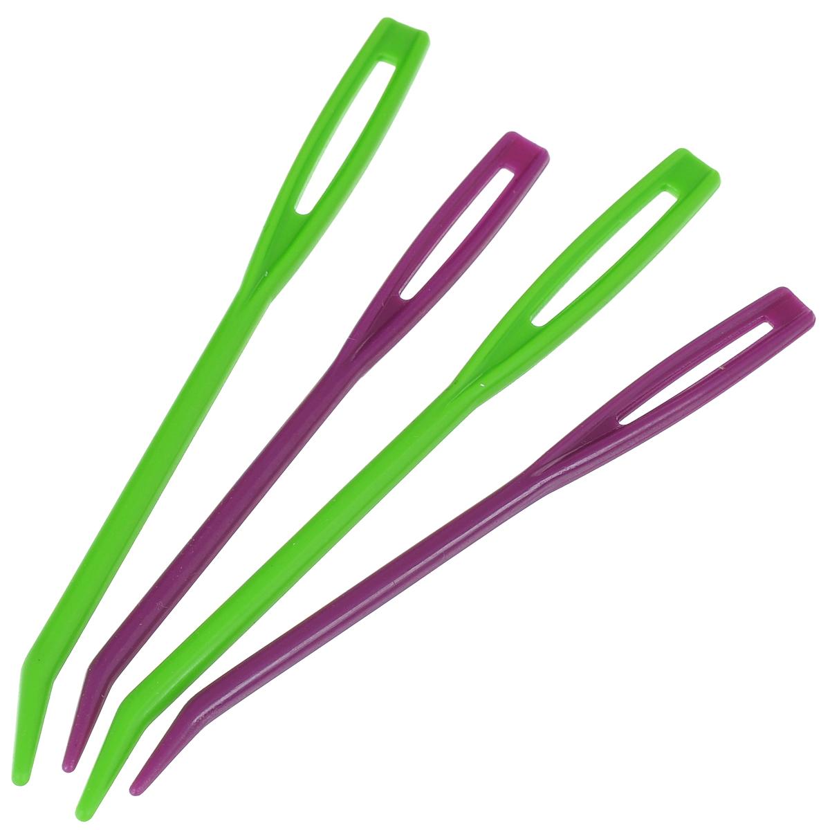 Набор игл KnitPro, для гобелена, цвет: зеленый, фиолетовый, 4 шт10806Набор KnitPro состоит из 4 игл разной длины, изготовленных из плотного пластика. Изделия применяются в швейных работах, вышивках на канве и ткани. Особенно они подходят для вышивания крестом. В широкое ушко без труда можно продеть нужное количество ниток. Благодаря тому, что поверхность игл гладкая пряжа не будет ни за что цепляться. Комплектация: 4 шт. Длина игл: 7,8 см; 8,8 см. Размер ушка: 1,7 см х 0,2 см; 2 см х 0,3 см.